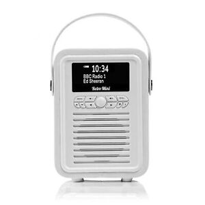 VQ - Retro Mini DAB+ Digital FM Radio Bluetooth Speaker, Alarm Clock - White