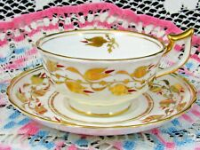 ROYAL CHELSEA HAND PAINTED GOLD GILT & BURGUNDY FLORAL TEA CUP AND SAUCER
