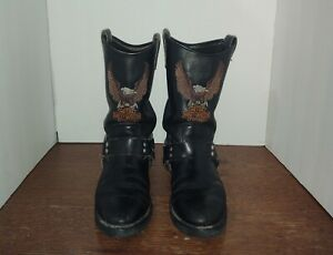 HARLEY-DAVIDSON Men's Black Leather Classic EAGLE HARNESS Pull-On Boots Size 9.5