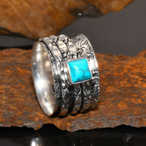 Worry Anxiety Blue Turquoise Spinner Ring 925 Sterling Silver Thumb