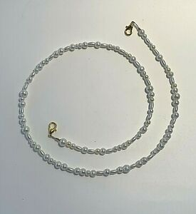"""Mask Lanyard Handmade Beaded 20"""" White Pearl Beads Artisan Crafted Claw Clasp"""