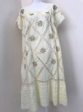 Vintage Yellow Lace Embroidered Floral XL 1X Nightgown