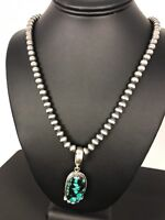 Navajo Pearls Sterling Silver Web Turquoise Necklace Pendant Signed Gift*59