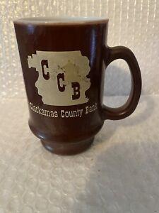 Vintage Clackamas County Bank Mug Brown Milk Glass USA Coffee Cup