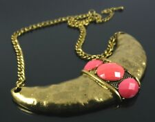 Btime. Gold Aztec / Inca Ethnic Bib Statement Necklace With Coral Pink Cabochons