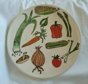 ❀ڿڰۣ❀ GALLERY THEA Hand Painted VEGETABLE DESIGN Large CERAMIC SERVING PLATTER