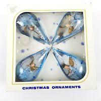 4 Vintage Jewelbrite Diorama Teardrop Angels Plastic Christmas Ornaments W/ Box