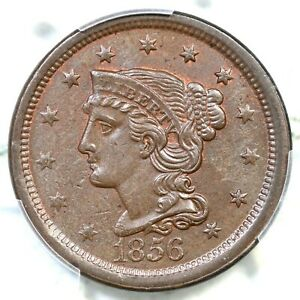1856 N-13 PCGS MS 63 BN Braided Hair Large Cent Coin 1c