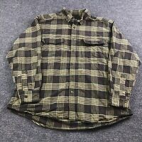 Woolrich Flannel Long Sleeve Button Down Shirt Mens Extra Large Plaid Pockets