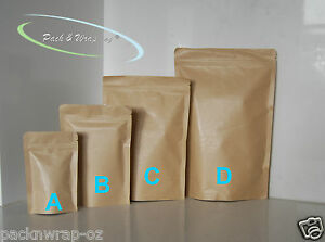 Stand-Up Zip Lock Kraft Paper Bags resealable re-seal food packaging pouch bulk