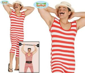 Mens Victorian Old Time Bather Fancy Dress Costume Bathing Strongman Outfit fg