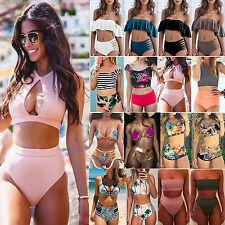 Womens High Waisted Bikini Set Push-up Swimwear Bandeau Swimsuit Bathing Suit L