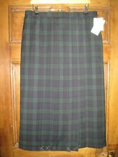 Peter Hahn green wool tartan skirt. Pleated & lined. size 18
