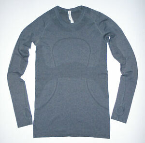 LULULEMON Long Sleeve RUN SWIFTLY T-Shirt GRAY Crewneck Thumb Holes Yoga Sz 6