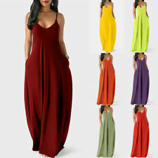 Women Summer V Neck Tank Long Dress Casual Solid Pocket Loose Party Maxi Dress