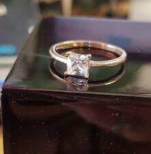 Princess cut 9ct Gold Dubai Created diamond ring size N free postage