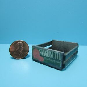 Dollhouse Miniature Small Stained Crate Mercantile Label Sanguinetti Grapes