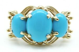 BEAUTIFUL Solid 14k Yellow Gold / Turquoise Ladies Ring Size 6 ~ 3.9g
