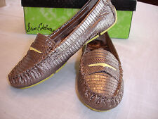 SAM EDELMAN Jones Gunmetal Bronze Flat Loafer Moccasin Snakeskin Leather 6 M