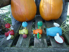 Vintage 1956 Fisher Price Gabby Goofies Wooden Wood Duck & Babies Pull Toy