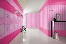 QUALITY STYLISH GIRLS PINK STRIPE PATCHWORK STARS FEATURE WALLPAPER 231311 RASCH