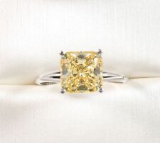 14K SOLID WHITE GOLD   3.00CT EMERALD CUT Fancy Yellow  Wedding Engagement Ring