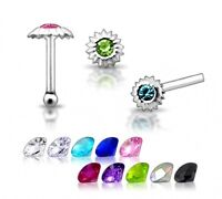 1 22g 6mm Silver Clear CZ Gem Nose Stud Ring New N109