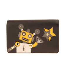 RRP €1420 PRADA ROBOT CAPSULE COLLECTION Leather Clutch Bag Saffiano Studded