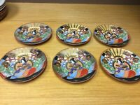 "6 Antique Japanese Satsuma Immortal 7 1/4"" Plates - Excellent"