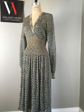 Vintage Missoni Sz XS Blue Metallic Knit Dress w/ Blue 1/2 Slip