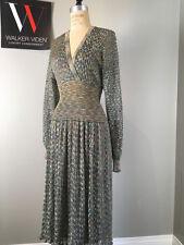 Vintage Missoni Sz XS Blue Metallic Knit Dress w/ Blue 1/2 Slip