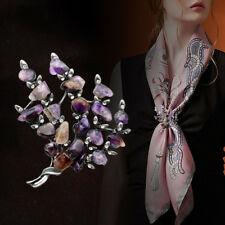 Fashion Women Lady Natural Amethyst Brooch Sweater Scarf Corsage Jewelry Gifts