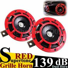 Pair Red 139Db Grille Grill Air Horn Compact Super Tone Loud Blast Universal