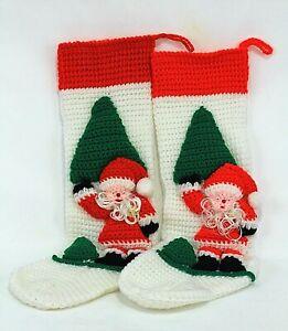 "Lot of 2 Rear Acrylic Hand Knit 24"" Christmas Decorative Stocking Hangers Socks"