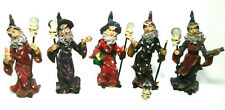 Vintage Heavy Resin Wizard Statue Figurine With Crystal Ball Skeleton And Staff