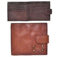 Mens Vintage Leather Wallet Traditional Style Slim Card Holder Brown