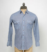 1980s Wrangler Vintage Western Shirt Blue Gingham Check w/Pearl Snaps WS19