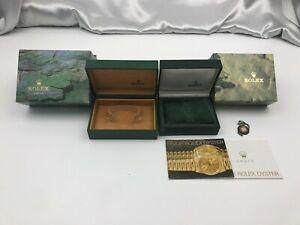 Genuine ROLEX Empty Watch Box Case 2 Set Booklet Tag Green 210302038 P11