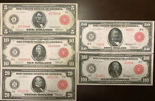 Reproduction 1914 Federal Reserve Note Red Seal Set $5 -$100 Read Description