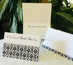 "50 Damask Themed Thank You Cards 4""x6"" size, quality cardstock, fancy script!"
