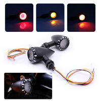 Black Motorcycle LED Indicator Turn Signal Rear Tail Stop Lights For Harley Cafe