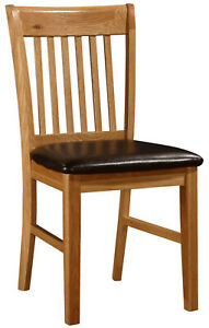 Solid Oak Dining Kitchen Table Chairs Brown Leather Natural Finish Pack of 2