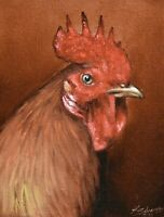 Superb John Silver Original Oil Painting - Portrait Of A Rooster (Cockerel) Bird