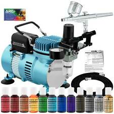 Master G22 Airbrush Cake Decorating Air Compressor Kit 12 Chefmaster Food Colors
