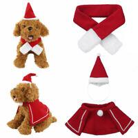 2 Set Pet Dog Christmas Scarf/Cloak&Hat Clothes Puppy Cat Winter Warmer Apparel