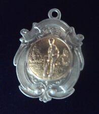 Vintage Sterling Silver & Gold  Fob Medal / Pendant - Cricket / Batsman h/m 1933