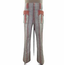 Vintage I.C. Isaacs Over The Top Safari Retro Gray Pink Flare Striped Mens Pants