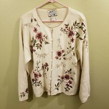 Heirloom Collectibles Sweater 2000 Beaded and Embroidered Pink Burgandy Grn Brn