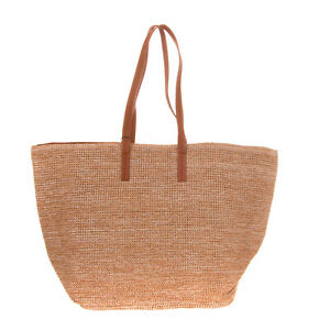 PIECES Woven Beach Tote Bag Large Fully Lined Magnetic Snap Closure
