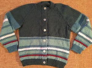 Child/'s Arpillera hecho a mano Suéter peruano Azul Marino 5T